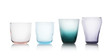 canvas print picture - Row of colorful empty glasses isolated on white
