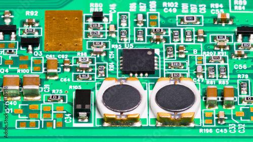 Electronic components close-up  Coils, resistors, capacitors
