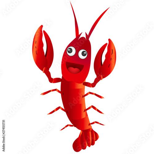 Canvastavla Funny red cartoon character crayfish on white background