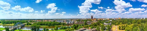 Foto op Canvas Blauwe hemel The Magdeburg Skyline in Saxony Anhalt, Germany