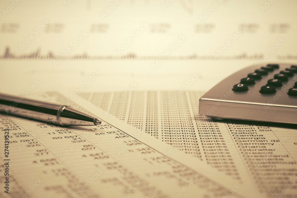 Fototapety, obrazy: Financial accounting Pen and calculator on balance sheets