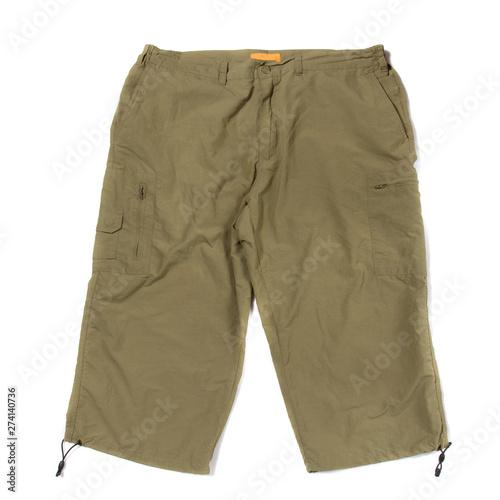 Valokuva  Green hiking shorts isolated on white background