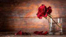Red Rose In Vase On Old Wooden Background, Vintage Style