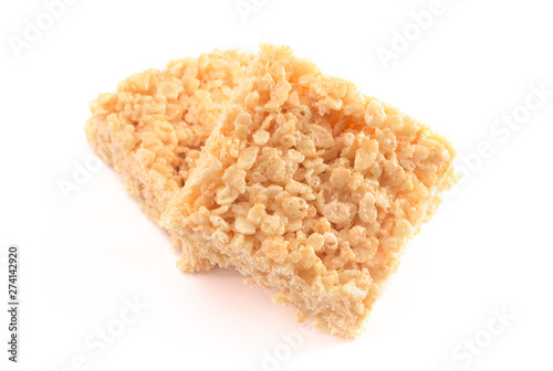 Cuadros en Lienzo Marshmallow Crispy Rice Cereal Treat Bars on a White Background