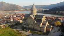 4K Aerial Video Of Ancient Church. On The Border Of Georgia, Mtskheta. Close Up Flight To The Distance