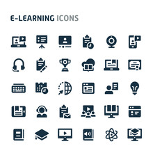 E-learning Vector Icon Set. Fillio Black Icon Series.