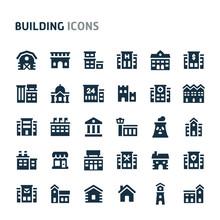 Building Vector Icon Set. Fillio Black Icon Series.