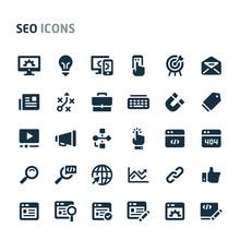 Search Engine Optimization Vector Icon Set. Fillio Black Icon Series.