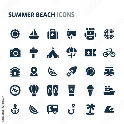 Canvas Print Summer Beach Vector Icon Set. Fillio Black Icon Series.