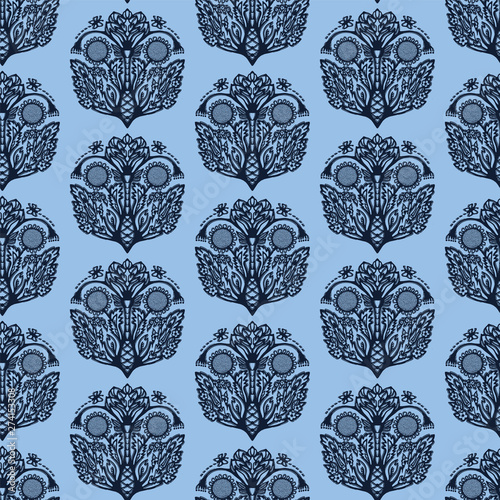 Indigo Blue Flower Motif Japanese Style Pattern Hand Drawn Paisely Drop Dyed Damask Textiles Decorative Art Nouveau Home Decor Modernist Trendy Monochrome All Over Print Seamless Vector Swatch Buy This Stock