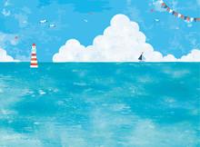 油彩の海と入道雲の景...