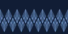 Modern Indigo Blue Geometric Hand Drawn Diamond Border Pattern. Repeating Abstract Background. Ornamental Monochrome Edging. Trendy Geo Washi Tape. Dyed Textile Ribbon Trim Banner . Seamless Vector