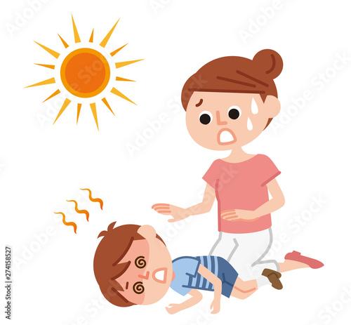 Fotografie, Obraz  熱中症で倒れる子供