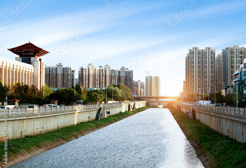 bird view of Fuzhou city at night Wallpaper Mural