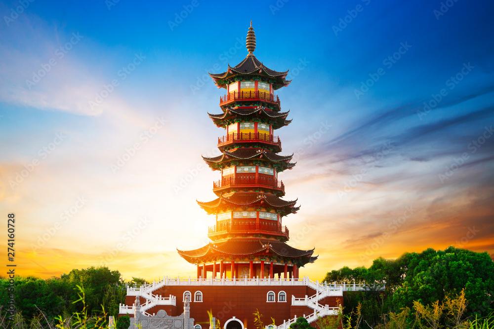 Fototapeta Giant Wild Goose Pagoda in the Morning, Xi'an, China