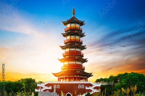 Poster Con. Antique Giant Wild Goose Pagoda in the Morning, Xi'an, China
