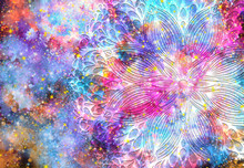 Abstract Ancient Geometric With Star Field And Colorful Galaxy Background, Watercolor Digital Art Painting And Mandala Graphic Design