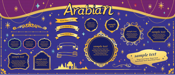 Gold frame design in vector format, arabic style, dream and magic image,