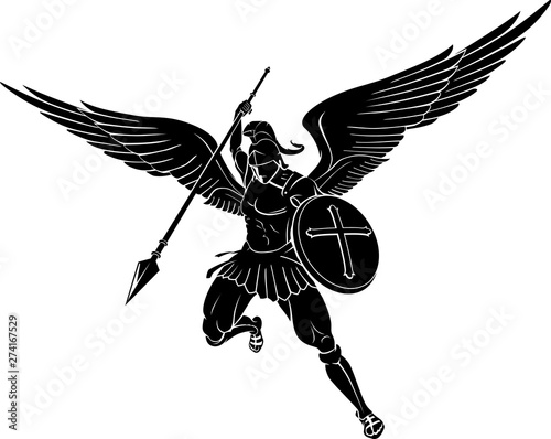 Archangel Power Spear Strike, Mid Air Canvas Print