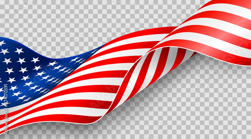 Fotografía  American flag on transparent background for 4t of July poster template