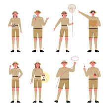 An Explorer Character Set Standing With Various Equipment. Flat Design Style Minimal Vector Illustration.