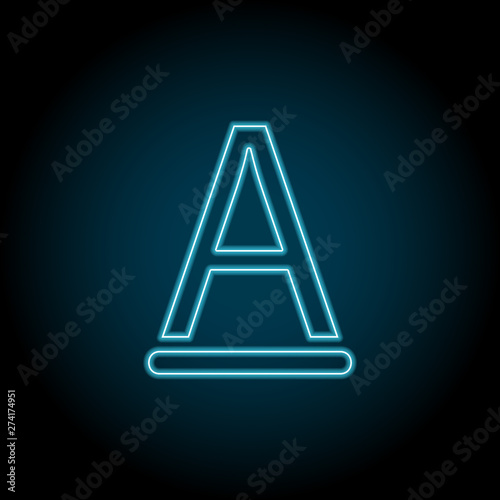 text, font neon icon  Simple thin line, outline vector of