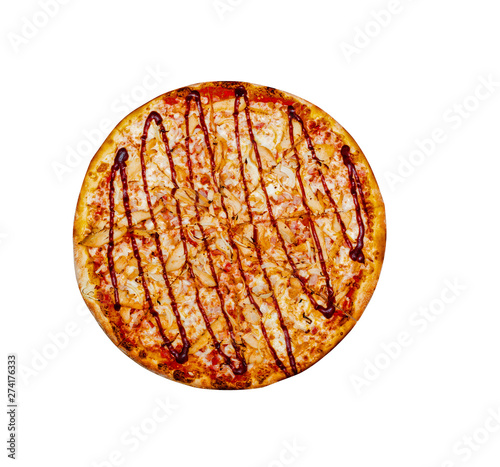 Valokuva  BBQ Chicken Pizza, top view. Cut into pieces. Isolated on white.