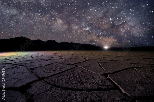 Photo  Time Lapse Long Exposure Image of the Milky Way Galaxy