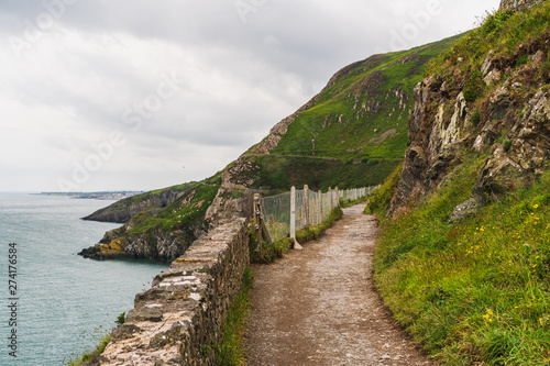 Fototapeta The scenic Bray to Greystones Cliff Walk in Wicklow, Ireland