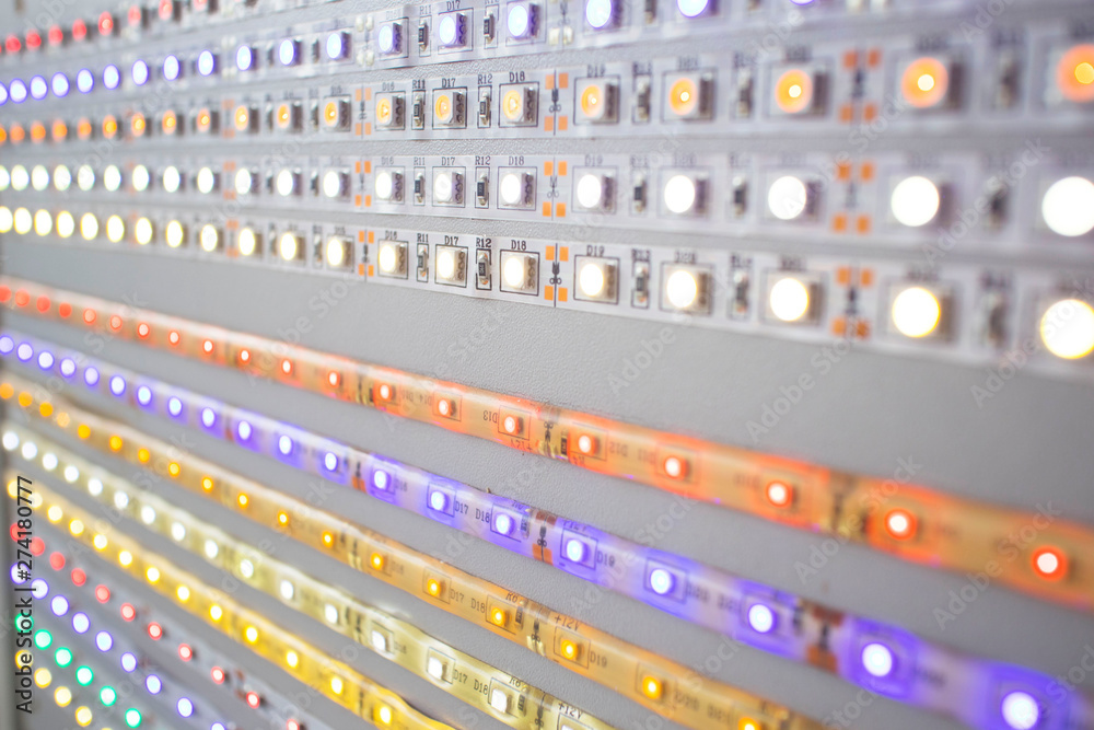 Fototapety, obrazy: large selection of multi-colored led strip lights