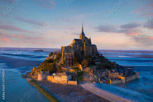 Cadres-photo bureau Bleu jean Aerial view of Panoramic view with sunset sky scene at Mont-Saint-Michel, Normandy, France