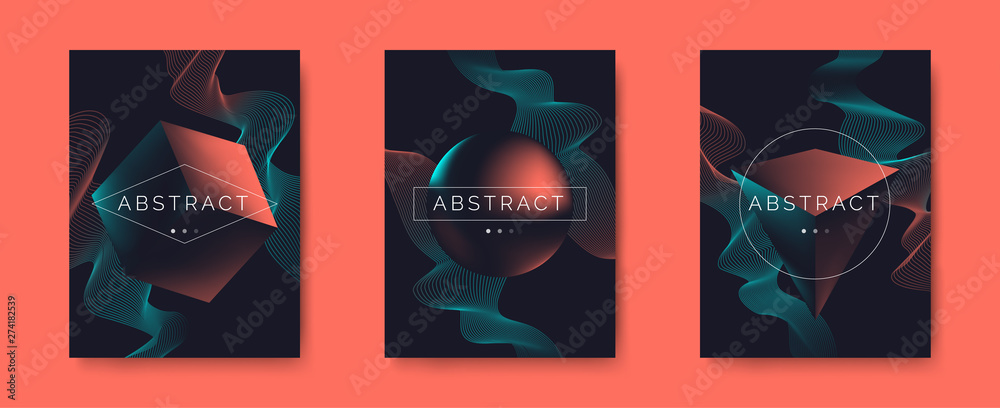Fototapety, obrazy: creative   abstract posters  set  with geometric 3d shapes and dynamic waves in minimalism style