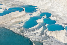 Natural Travertine Pools And Terraces In Pamukkale. Cotton Castle In Southwestern Turkey