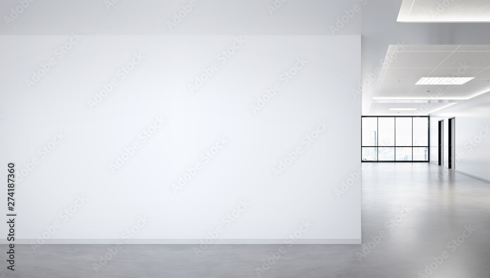 Fototapety, obrazy: Blank wall in bright office mockup with large windows and sun passing through 3D rendering