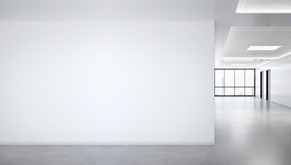 Blank wall in bright office mockup with large windows and sun passing through 3D rendering
