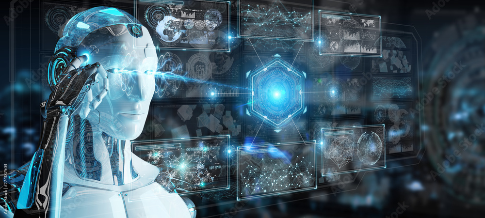 Fototapety, obrazy: White humanoid robot using digital technological interface with datas 3D rendering