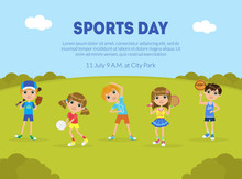 Sports Day Banner Template, Sport Activity Outdoors, Children Doing Sports On Nature, Flyer, Poster, Invitation Card Vector Illustration