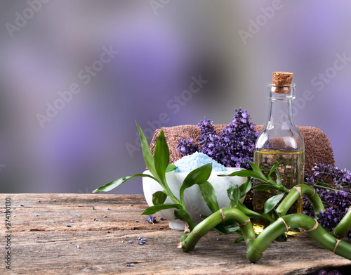 Fotografie, Obraz  spa massage setting, lavender product, oil on wooden background