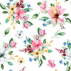 FototapetaSeamless background, floral pattern with watercolor flowers. Repeating fabric wallpaper print texture. Perfectly for wrapping paper, backdrop or border.