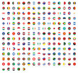 All national flags of the world with names. Rounded flags, circular design. High quality vector flag isolated on white background
