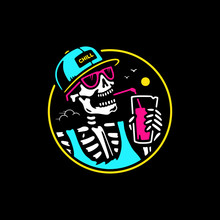 SKELETON WITH CAP AND COCKTAIL BADGE COLOR BLACK BACKGROUND