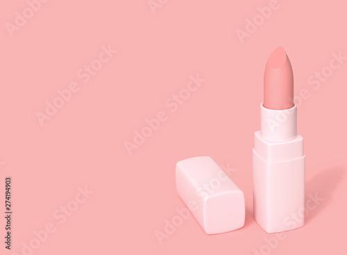 Canvastavla Nude color, pink matte lipstick on pink background