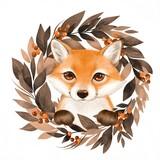 Fototapeta Fototapety na ścianę do pokoju dziecięcego - Cute cartoon fox with autumn wreath isolated on white