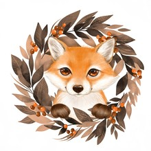 Cute Cartoon Fox With Autumn W...