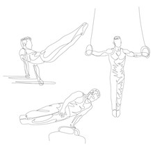 Continuous One Line Gymnast Do...