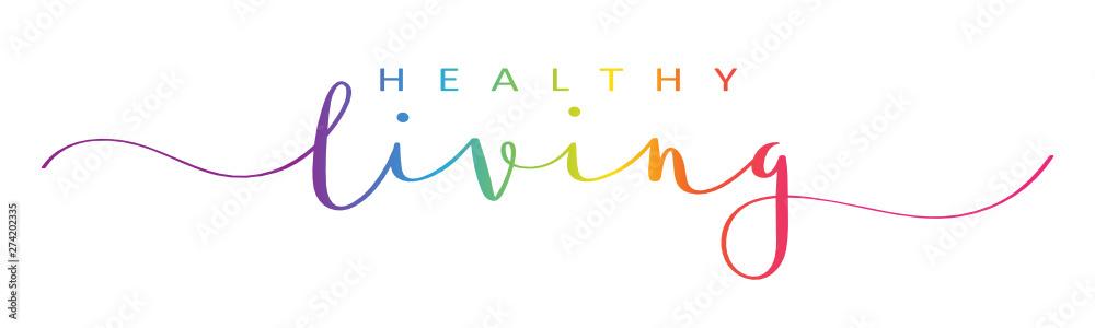 Fototapeta HEALTHY LIVING rainbow vector brush calligraphy banner