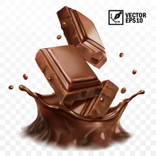 3D Realistic Vector Crown Splash Of Chocolate, Cocoa Or Coffee, Pieces Of Chocolate Bar, Swirl