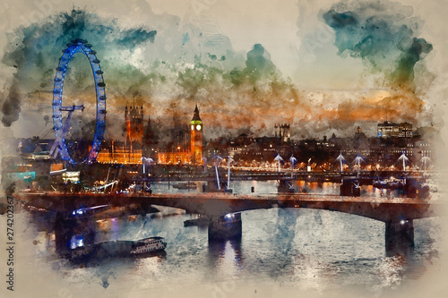 Montage in der Fensternische Schokobraun Digital watercolor painting of London skyline at night including Parliament, London Eye and South Bank