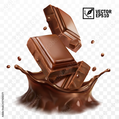 Tela 3D realistic vector crown splash of chocolate, cocoa or coffee, pieces of chocol