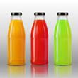 3d realistic transparent juice bottle vector mockup